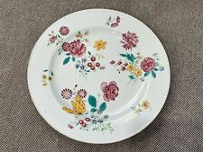 Antique 18th Century Chinese Famille Rose Porcelain Plate w Floral Decoration