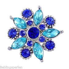 1 Druckknopf Klicks Wechselschmuck Snap Blau Strass Blume 26x25mm