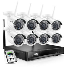 ZOSI 8CH 1080p 2TB H.265+ NVR avec 8pcs Caméra Surveillance IP WiFi Sans fil 2MP