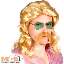 Blonde Curly 70s Wig & Moustache Mens Fancy Dress Hippy Adults Costume Accessory