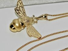 9ct Yellow Gold on Silver Bumble Bee Pendant Necklace & 18 inch Chain