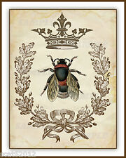 Wall Art print 8 x 10 (Unframed) Vintage French Bee Wreath Crown Images 325gsm