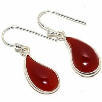 "Natural Carnelian Gemstone Handmade  925 Sterling Silver Earring 0.9"""