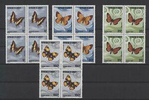 [P25200] Djibouti 1978 butterflies good set blocks of 4 VF MNH stamps