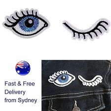 Blue Eye wink 2 pack iron on patch looking at you eye lashes embroidery patches