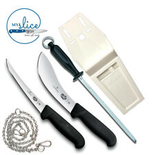 """Victorinox 2 Piece Butcher Knife Set, 10"""" Steel, Flat Pouch & Stainless Chain"""