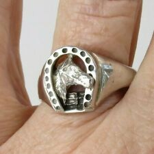 VTG size 13 ring sterling silver lucky western horseshoe horse cowboy style