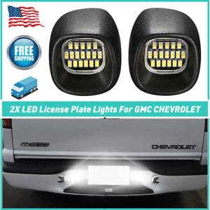 2X LED License Plate Lights For Chevrolet / GMC 1998-2004 18-SMD 5500K White EOL