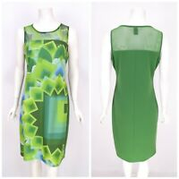 Womens Desigual Geometric Print Dress Green Summer Sleeveless Size L