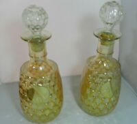 Vintage Carnival Marigold Gold Thumbprint Decanters Luster Glass Pair (2)