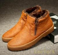 New Mens fur lined High Top Warm snow Sneakers Zipper Thicken ankle boots Shoes