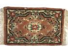 vintage hand hooked wool rug floral  22 x 35 hand made wool rug fringe edge