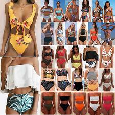 Womens High Waisted Padded Bikini Set Swimsuit Beachwear Swimwear Bathing Suit