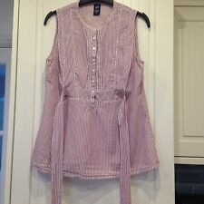 Gap Red Stripey Cotton Blouse 8 with adjustable ties