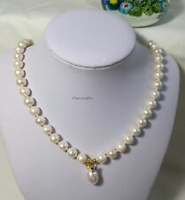 Genuine silver freshwater pearl near round 8-11mm  pendant necklace WHT