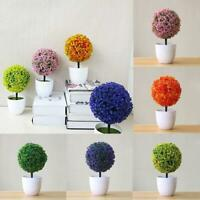 Small Artificial Topiary Ball Plants in Pots Indoor NEW Trees Flowers I4M1