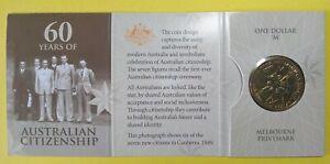 "2009 ""M"" Mint - RAM UNC - One Dollar Folder - 60 Years Australian Citizenship"