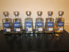 Lot of 6 Empty 1 Liter 1800 Silver Tequila Bottles, Glass, With Caps
