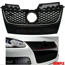 Front Main Hex Mesh Bumper Center Grille For VW JETTA MK5 GTI 06-09 Silver Strip