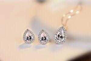 Water Drop Pendant Necklace Stud Earrings 925 Sterling Silver Womens Jewellery