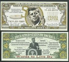 Jfk 50th Anniversary, John F. Kennedy Memorial Million - Lot of 10 Bills