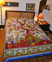 Tree of Life print cotton double bed spread bedcover wall hanging throw ethnic