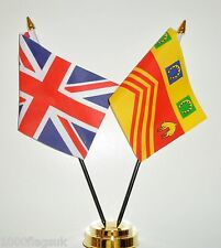 United Kingdom & Gloucestershire County Civil Double Friendship Table Flag Set