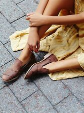 Free People Collection Women's 37/7 Sitar Brown Leather Loafers Flats Slip On