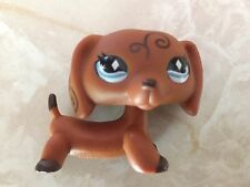 Littlest Pet Shop RARE Dachshund Dog Puppy #640 Scroll Diamond Eyes LPS
