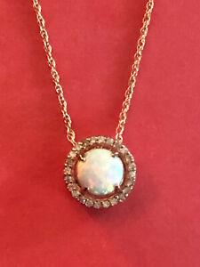 "Rose Gold Sterling Silver Necklace Lab Opal CZ Halo 6mm JTV 18"" 1.9g 925 #1546"