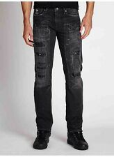 Guess Slim Straight Jeans In Moshpit Wash Heavy Destroy Details Size 31