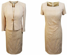 LIGHT BEIGE LACE MOTHER OF THE BRIDE GROOM OUTFIT 2 PIECE JACKET DRESS SIZE 12