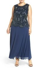 2265d771da3 Pisarro Nights Beaded Embellished Mock Sleeveless Gown Dress 18w Navy Chic