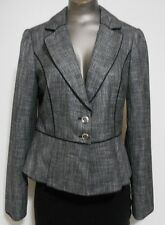 White House Black Market Size 6 Gray Tweed 2 Button Rayon Blend Blazer Jacket