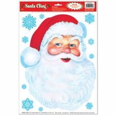 "Santa Face & Snowflakes Window Clings Sheet 12"" x 17"" Christmas Party Supplies"