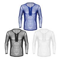 Herren Shirt Transparent Mesh Langarmshirt Tops Männer Reizvoll Party Club Hemd