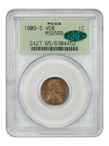 1909-S VDB 1c PCGS/CAC MS65 RB (OGH) Popular Key Date, Old Green Label Holder