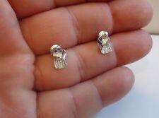 925 STERLING SILVER DESIGNER STUD EARRINGS W/ .25 CT DIAMONDS/BREATHTAKING PIECE