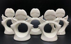 "Set of 5 Ceramic Bisque 3-1/2"" White ANGEL Napkin Rings (RF825)"