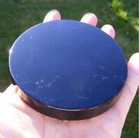 3.9'' Black Obsidian Scrying Mirror Crystal Gemstone Rock Stone Home Decor