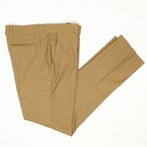 Mizzen + Main Mens Pants 34x35 Mid Tan Flat Front Comfort Stretch Trousers