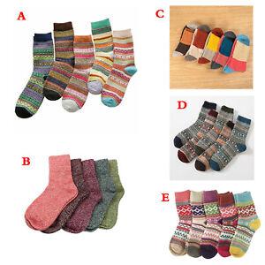 5 Pairs Women Ladies Winter Thermal Socks Warm Wool Nordic Novelty Sock UK