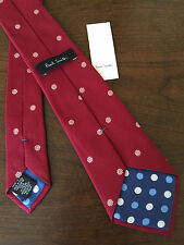 PAUL SMITH 100% WOVEN SILK RED FLORAL CLASSIC TIE MADE IN ITALY BNWT