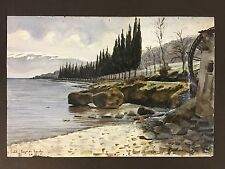 SALO LAKE GARDA 1911 Lago di row of cypress trees Delacroix? Henri? 1845 -1930