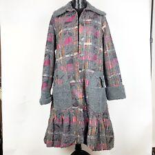 Oliver Jung Paris Womens Coat Size Medium Gray Red Plaid