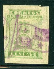 Colombia Early Used Selections: Scott #304a 1c Yellow Green Panama Flag Cancel $
