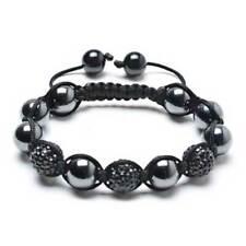 Black Hematite Pave Crystal Ball Shamballa Inspired Bracelet Black Cord String