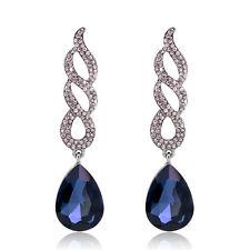 Blue Crystal Women Wedding Party Rhinestone Long Waterdrop Dangle Earrings Gifts
