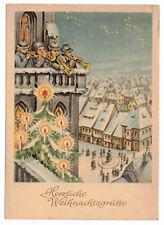 Künstler Ak Musiker auf Kirchturm Weihnachtgrüße 1954 Christbaum DDR !