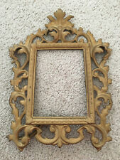 Heavy Cast Brass Ornate Picture Frame Easel Vtg Antique Scroll Rococo Baroque